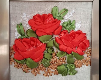 Red roses satin ribbon embroidery