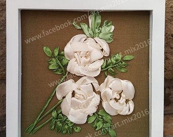 White roses satin ribbon embroidery
