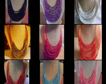 Handmade African Tribal Inspired Multi-Strand Seed Bead Necklace (multiple colors available)