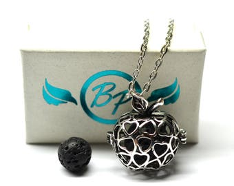 Apple Cage Lava Stone Essential Oil Diffuser Necklace // Aromatherapy Necklace // - With Choice of Essential Oil