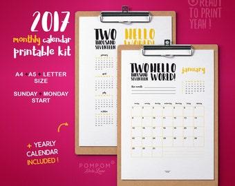 2017 MONTHLY Calendar, Printable calendar, Poster Planner 2017, Downloadable Calendar, agenda plan digital print