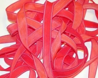 """1PC. CORAL REEF 42"""" hand dyed wrist wrap bracelet silk ribbon//Yoga wrist wrap bracelet ribbons//Hand dyed Boho Silk wrist wrap ribbon"""