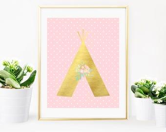Gold and Pink Boho Baby Room Printables - Tribal Wall Art - Boho Nursery - Baby Room Decor - Girls Room - Nursery Decor - Pink and Gold Boho