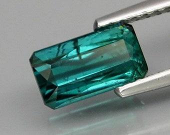 Tourmaline Stone. Rare Blue-Green Tourmaline Gemstone WITHOUT TREATMENT. Rare Cut Octagon