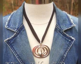 Shiny Silver Multi Rounds n ILY Necklace with Black Fabric Strap Necklace (Hand Cut and Stretched)