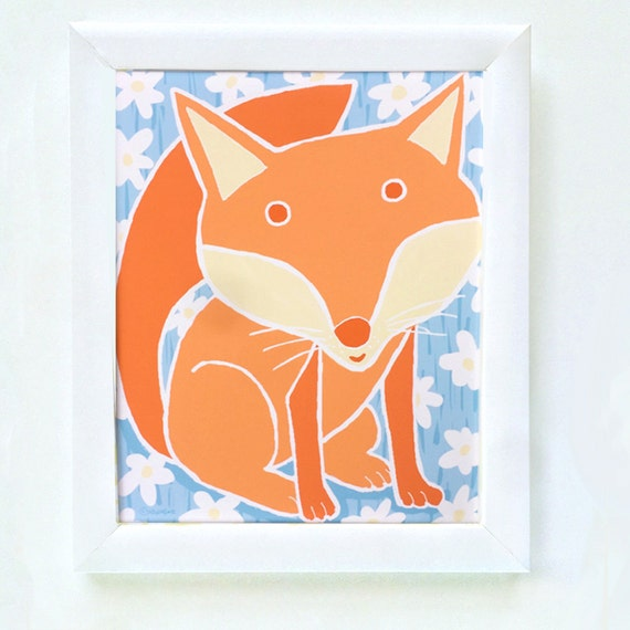 Woodland fox print for nursery or bedroom wall, art for girl's bedroom, children's decor, kids woodland print, fox art, Nadine Westcott
