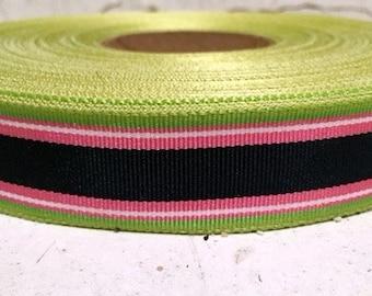 "7/8"" (23mm) preppy Black/Lime/Pink stripes grosgrain ribbon"