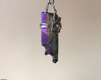 The Aura key/  Rainbow Aura quartz pendant necklace
