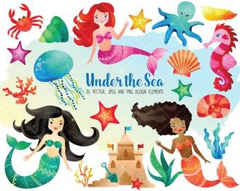 Watercolor Sea Clipart Set - Ocean Clipart - Mermaid Clipart - Seashells Clipart - Digital Printables - Digital Clip Art INSTANT DOWNLOAD