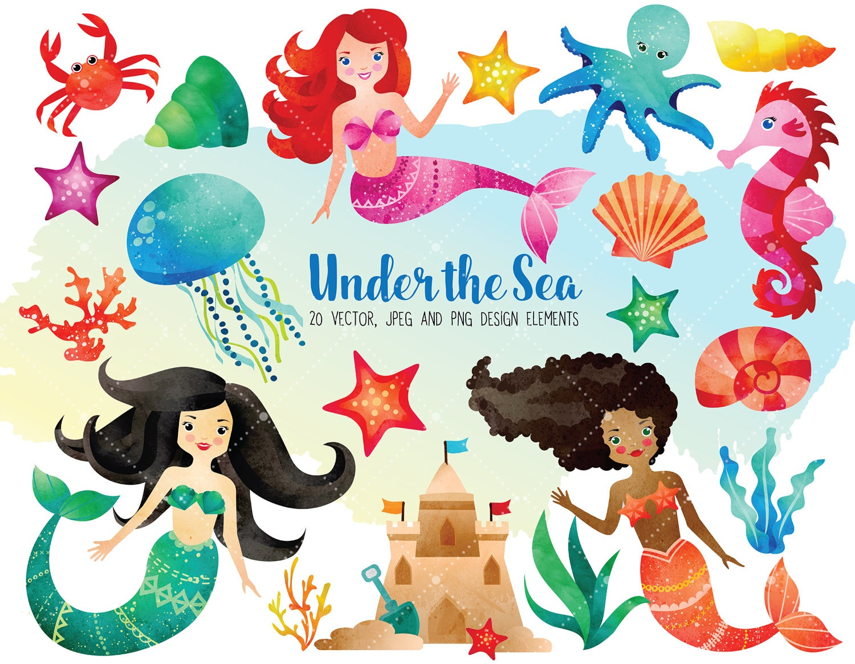 watercolor sea clipart set ocean clipart mermaid clipart