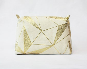 Gold line pouch, makeup bag,makeup organizer,travel pouch