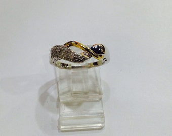 Diamonds,14k gold,sterling silver,infinity wedding,anniversary band,size7,.25ctw