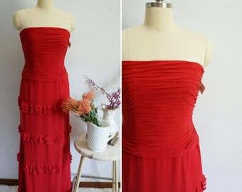 vintage inspired Kay silk chiffon dress | silk chiffon gown | red silk chiffon dress