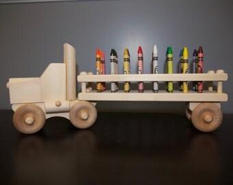 Handmade truck, wooden truck, truck and crayon carrier, wood crayon truck