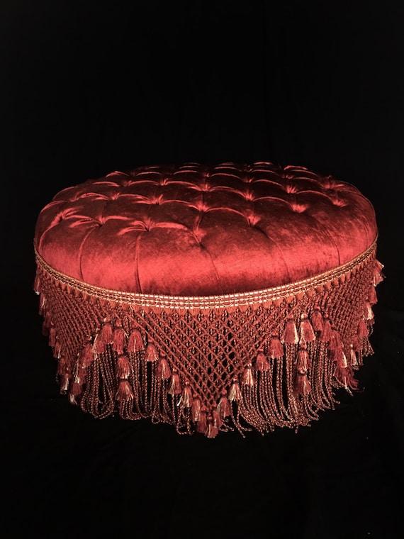 French Round Tufted Ottoman Red Velvet Louis Xvi
