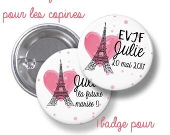 10 round bachelorette party badges large metal - 44mm - customizable - paris, eiffel tower model, chic - Bachelor bachelorette party