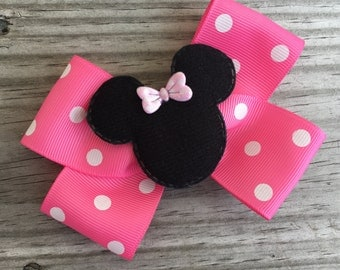Minnie Mouse Bow / Pink Minnie Mouse Hair Bow / Disney World Bow / Disney Bow