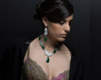 Aventurine earrings, quartz and Silver 925%
