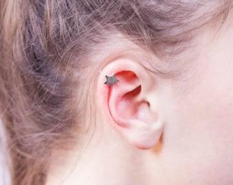 925 Silver ear Cuff with Star Pattern
