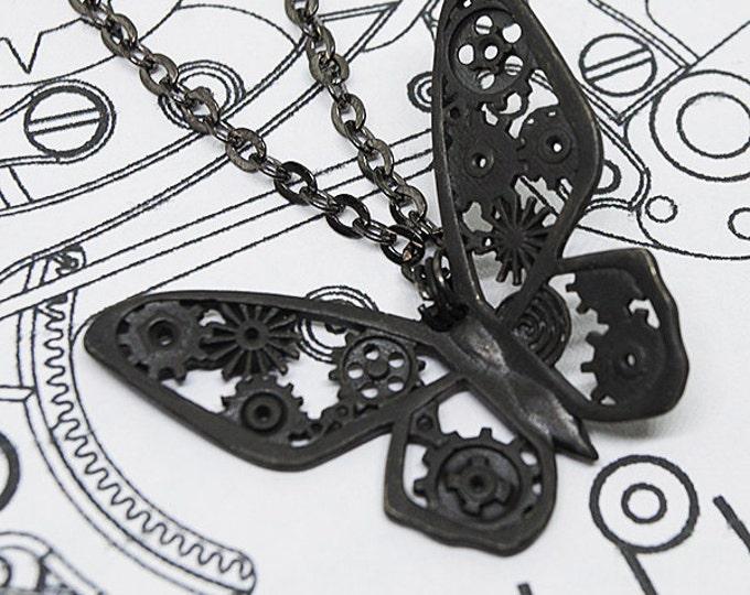 """Pendant """"Black steampunk Butterfly"""""""