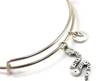 SNAKE bracelet, silver snake bangle, snake charm, initial bracelet, adjustable bangle, personalized jewelry, swarovski birthstone