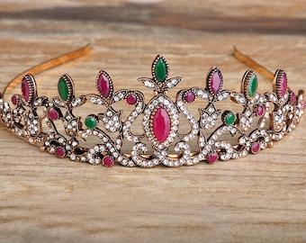 Bridal Acrylic Ruby Emerald and Sapphire Tiara Head Crown