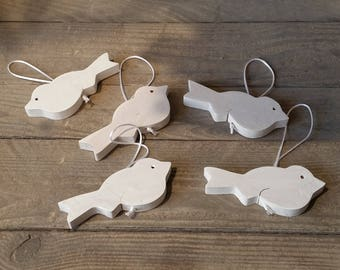 White birds in wood (set of 5)