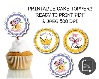 3 Printable cupcake toppers, Happy birthday cupcake toppers, Round label, DIY topper, Printable labels, Printable tags, Girls birthday party