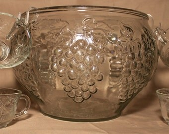1980's  Indiana Crystal Glass Punch Bowl Set