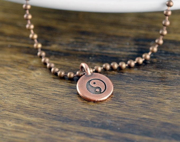 copper ying yang necklace -pendant necklace - mens necklace - boyfriend gift - anniversary gift