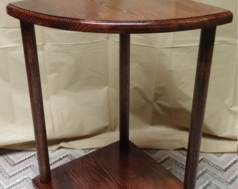 Handmade Corner Table, End Table, Quarter Round Table, Night Stand