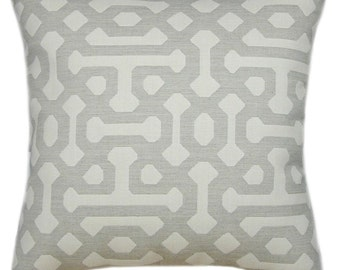 Sunbrella Fretwork Pewter Indoor/Outdoor Pillow, Sunbrella Pillows, Decorative  Pillow