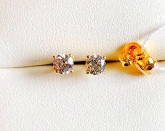 Solid 22k gold 916 gold cz stones solitaire earrings earstuds