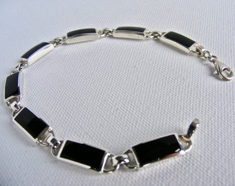Silver and Black Onyx Rectangular Eight Link Bracelet