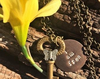 Skeleton Key Necklace//Hand-Stamped Necklace//Christian Necklace//Butterfly Brass Necklace//Antique Brass Skeleton Key Necklace
