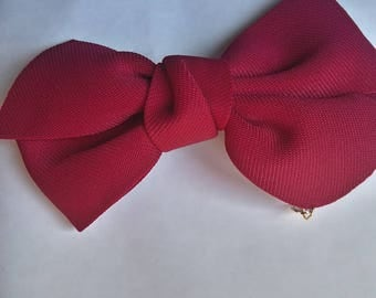 Great Red bordeaux bow barrette