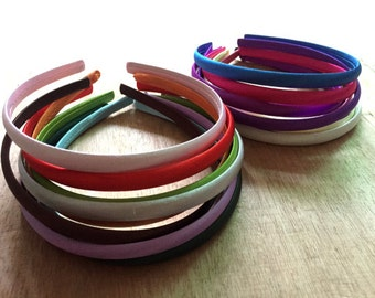 50pieces assorted colors satin plastic hair headband covered 10mm wide