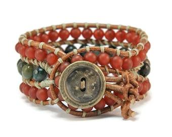 Boho Iokasti * Carnelian & Agate. 3 strand Wrap Bracelet. Boho Style. Bohemian Jewelry. Semiprecious stones. Gift for her. Cuff Bracelet.