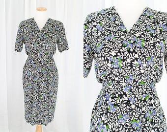 "Jane Singer floral dress | vintage 1980s dress | 80s wiggle dress | faux wrap knee length petite | size xs/s waist 25"""