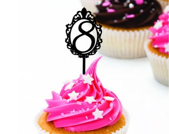 Set of 12  Mirror Mirror on the wall age cupcake toppers (this listing is for cupcake toppers ONLY) - perfect Princess Party extra.