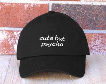 Cute But Psycho Baseball Cap, Embroidered Baseball Cap, Dad Baseball Hat, Unisex Adjustable Cotton Baseball Hat