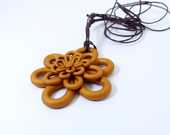 Big in polymer clay Flower necklace