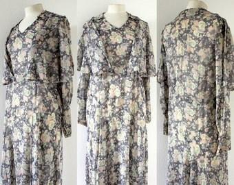 Lovely Vintage 1930s Pastel Floral Print Sheer Cotton Day Dress