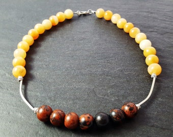 Necklace brown/yellow