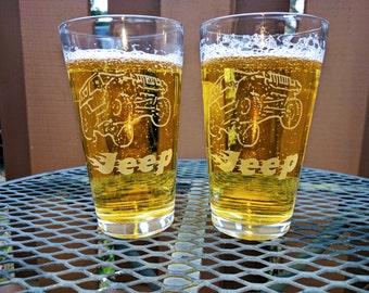 Set of 2 Jeep beer glasses