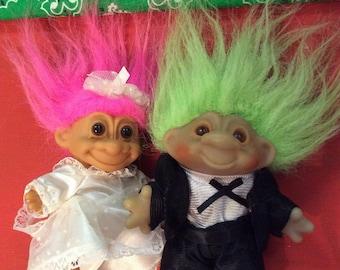 Vintage Lucky Trolls Bride and Groom/1986 DAM /90's Russ/ Pair of Trolls