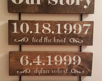 Our Story- Personalized Hanging Sign. Great Gift Idea!