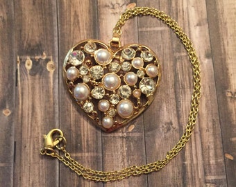 Love, heart, pearl, rhinestone, gold, pendant, necklace