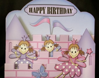 Girl's Fairy Princess Castle Birthday Card-Handmade-3D-Pink and Purple Fairies-Princesses-Castle-Fairy,Little Girl-Magic-Fairytale-Wishes