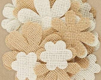 40 petals of flower jute 3.4 / 4.9 cm cream and string